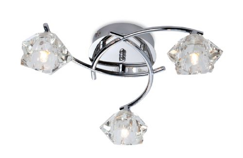 Firstlight 8364CH Chrome with Clear Glass Clara 3 Light Flush Fitting